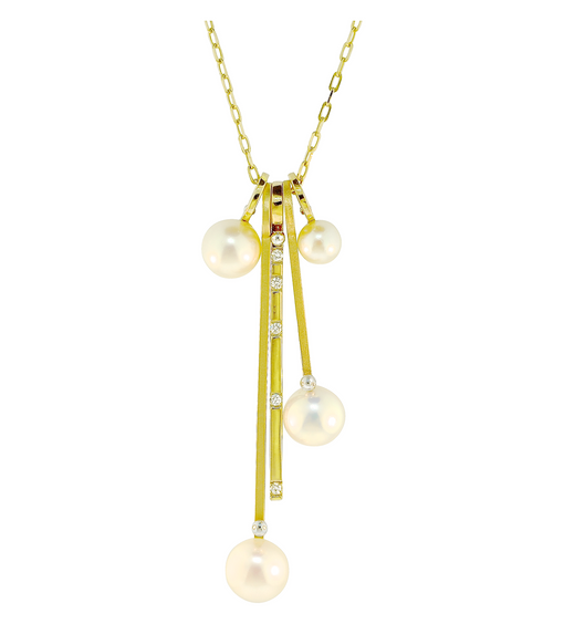 Lauren Chisholm designer jewelry Pearl & Diamond Drop Charm Necklace.  14k, 18k designer detail,  freshwater pearls, diamonds .  5 charm stack