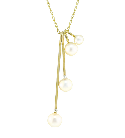Lauren Chisholm unique freshwater pearl drop charm necklace, 4 piece stack.  Designer jewelry, 14k 18k designer detail