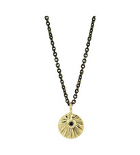 Lauren Chisholm 14k gold starburst charm featuring a black diamond, 18k gold ball designer's detail