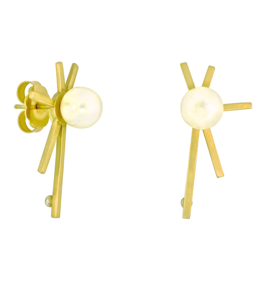 Lauren Chisholm designer jewelry. Pearl Starburst earrings. 14k, 18k, 8mm freshwater pearls, featuring an oversize ear nut and a brushed finish.