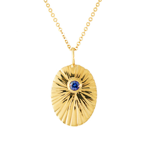 "Birthstone Starburst Charm Necklace. Customize this charm with the birthstone of your choice.   Solid 14k gold, 18k gold ball designer detail, 18"" long chain,,, featured here, Blue Sapphire"