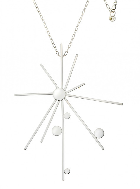 Modern sculptural Starburst necklace in sterling silver and 18k gold signature detail