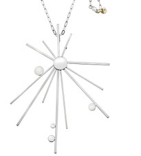 Modern chic designer Starburst necklace in sterling silver and trademark 18k gold detail