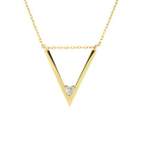 Lauren Chisholm designer jewelry - V trillion diamond necklace.  14k gold, trillion diamond, 18k gold ball designer detail