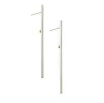 Lauren Chisholm Single Ray bar earrings, 14k solid gold with designer's signature 18k gold ball detail