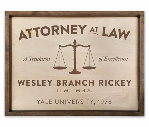 Handcrafted Wooden Office Plaque