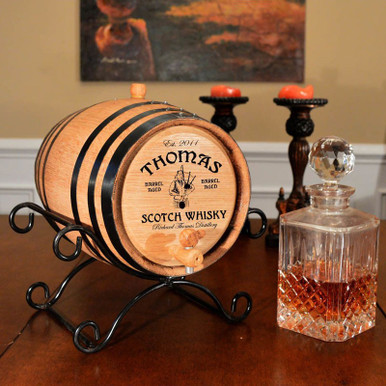 Bagpipe Scotch Barrel Personalized (Wrought Iron Stand)