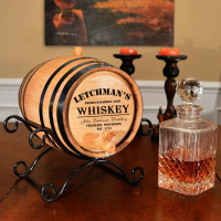 Personalized Whiskey Barrel w Iron Stand