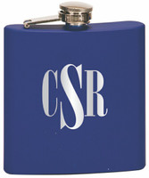 Custom Engraved Stainless Steel Flask in Matte Blue