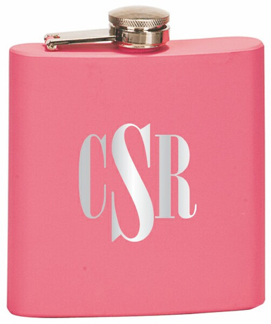 Custom Engraved Stainless Steel Flask in Matte Pink