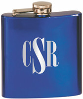 Custom Engraved Stainless Steel Flask in Gloss Blue