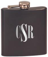 Custom Engraved Stainless Steel Flask in Matte Black