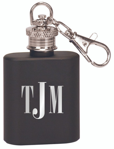 Engraved Keychain Flask in Matte Black