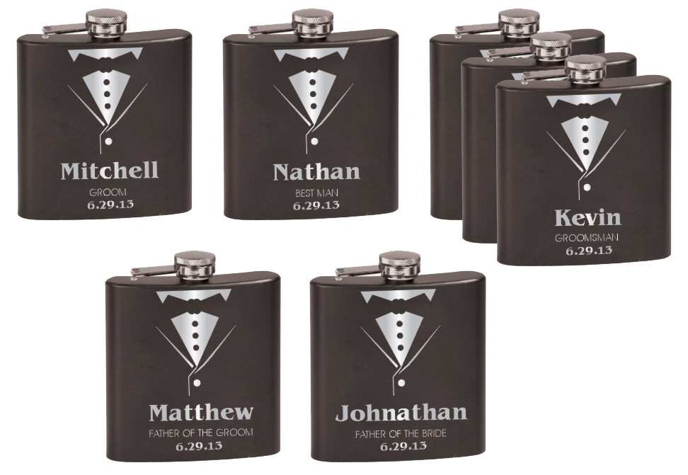 Personalized Tuxedo Flask Deluxe Set Groomsman Gift Set