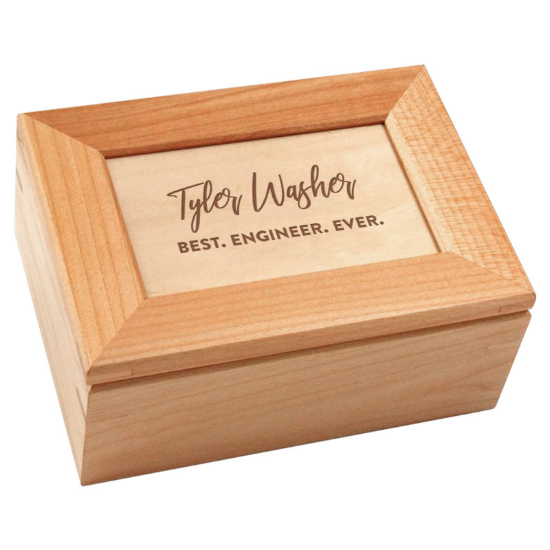 Custom Engraved Maple Wood Keepsake Box