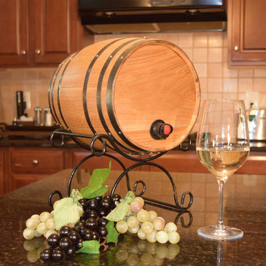 Boxed Wine Barrel Serving Kit - Wrought Iron Stand