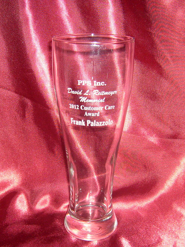 personalized pilsner glass custom engraved with your text or logo