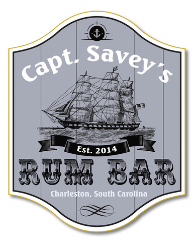 Personalized Pirate Rum Bar Sign