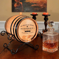 Custom Distillery Label Oak Barrel with Iron Stand