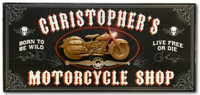 Vintage Motorcycle Shop Plaque