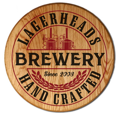 Personalized Brewery Barrel Head Sign
