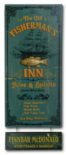 Fisherman's Inn Vintage Pub Sign
