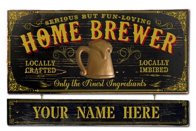 Vintage Home Brewer Plaque with Personalized Name Board
