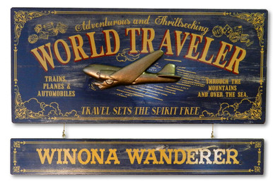 Vintage World Traveler Plaque