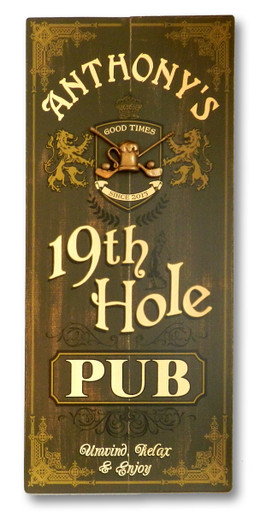 Personalized 19th Hole Distressed Wood Sign