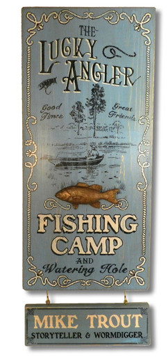Lucky Angler Fishing Camp Sign
