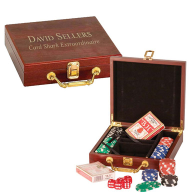 Personalized 100 Chip Poker Set with Wooden Gift Box