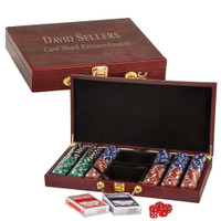 Personalized Deluxe 300 Chip Poker Set with Wooden Gift Box