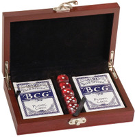 Custom Engraved Card & Dice Gift Set in Rosewood Finish Wooden Box