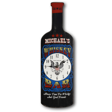 Bottle Shaped Whiskey Bar Clock Sign