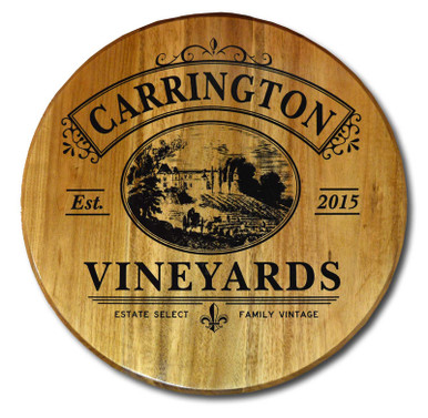 Vintage Vineyards Wine Barrel Head Sign