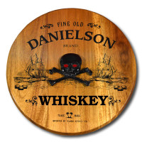 Pirate Ship & Skull Home Bar Barrel Head Sign