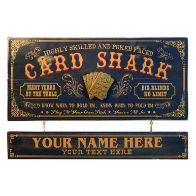 Card Shark Vintage Style Plaque with Optional Personalized Name Board