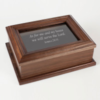 Personalized Walnut Wood Keepsake Box with Etched Glass