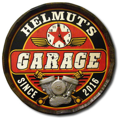 Garage Clock Vintage Quarter Barrel Sign
