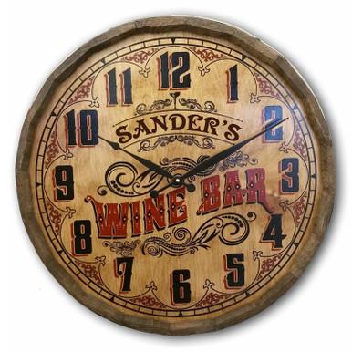 Antique Wine Bar Quarter Barrel Clock Personalized