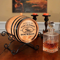 Bourbon Barrel (Wrought Iron Stand)