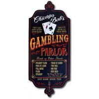 Gambling Parlor wood art sign