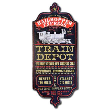 Vintage Train Depot Sign