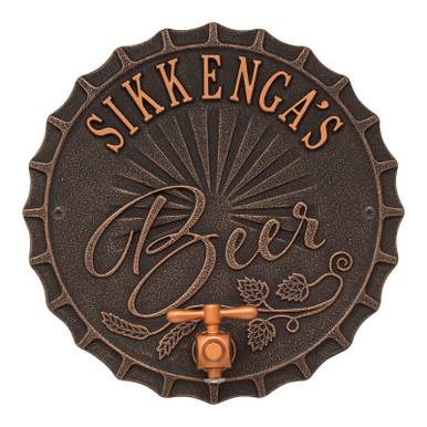 Personalized Brew Pub Metal Plaque - Oil Rubbed Bronze Finish