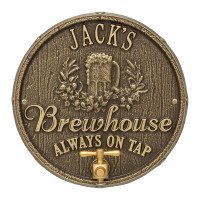 Brewhouse Barrel Head Metal Plaque Personalized - Antique Brass Finish