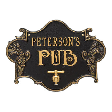 Hops & Barley Beer Pub Plaque - Black / Gold Finish