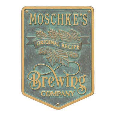 Brewing Company Home Bar Plaque - Verdigris Finish