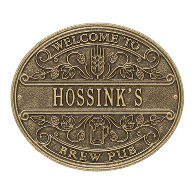 Brew Pub Welcome Plaque - Antique Brass Finish