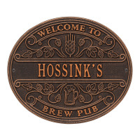 Brew Pub Welcome Plaque - Oil Rubbed Bronze Finish