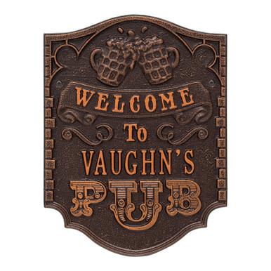 Personalized Pub Welcome Plaque - Antique Copper Finish